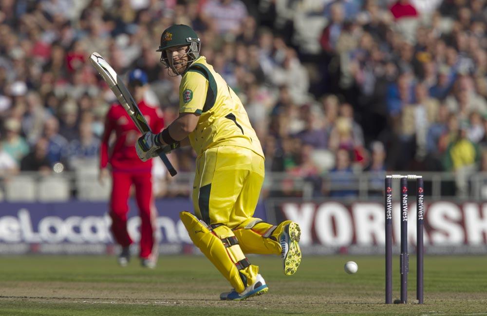 मैंचेस्टर में इंग्लैंड के खिलाफ वनडे मैच के दौरान आस्ट्रेलियाई बल्लेबाज एरोन फिंच।