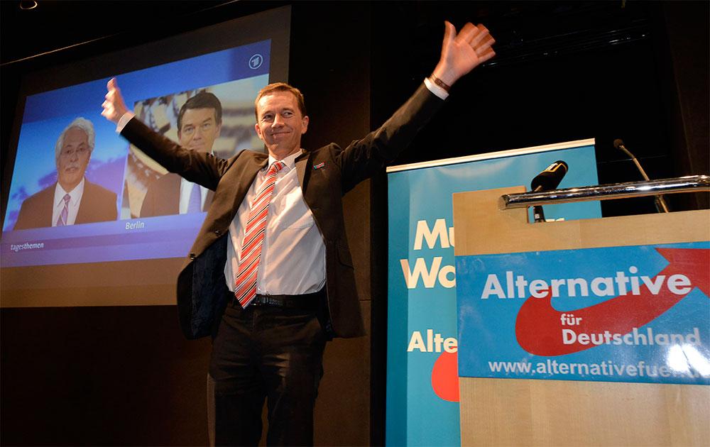 बर्लिन में एक पार्टी के दौरान एलटरनेटिव फॉर जर्मनी पार्टी के दिग्गज नेता बर्न्ड लुके।