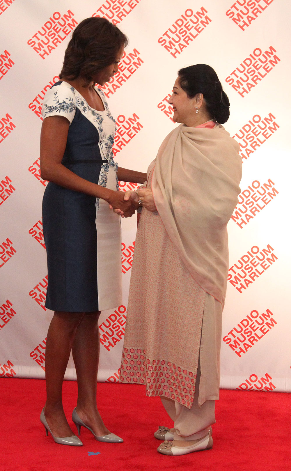 न्यूयॉर्क में अमेरिका की प्रथम महिला पाकिस्तानी के प्रधानमंत्री नवाज शरीफ की पत्नी से मुलाकात करती हुई।