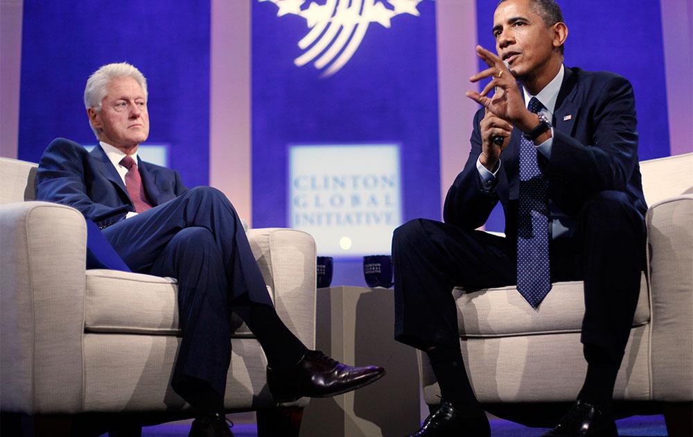 न्यूयॉर्क में क्लिंटन ग्लोबल इनिशिएटिव के मौके पर बोलते अमेरिकी राष्ट्रपति बराक ओबामा।