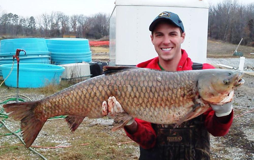 कोलंबिया में एक व्यक्ति खुदाई के दौरान निकली एक बड़ी मछली के साथ।