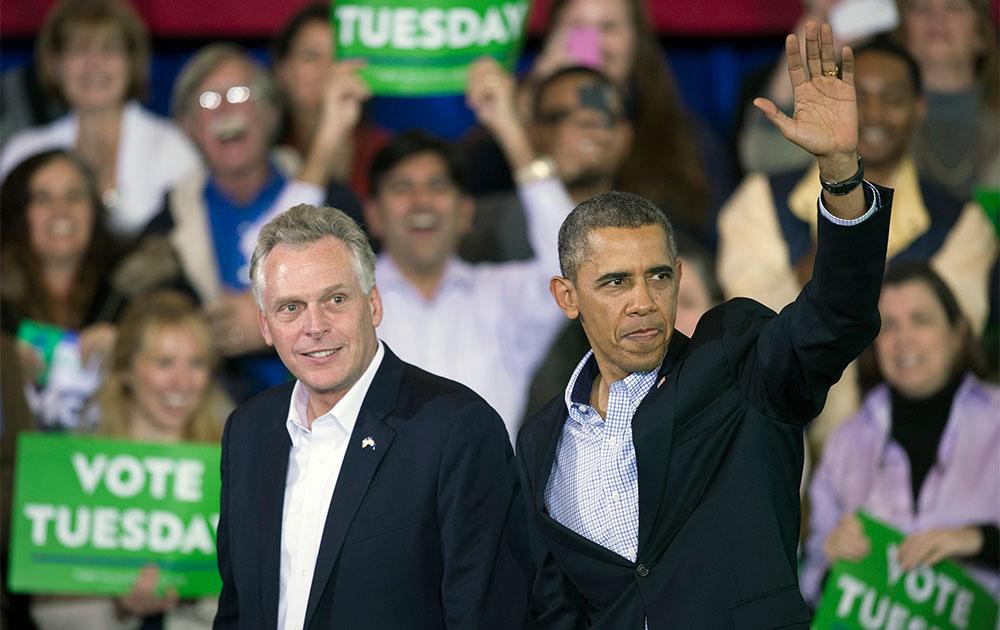 वा में एक चुनावी रैली में भाग लेते अमेरिकी राष्ट्रपति बराक ओबामा।