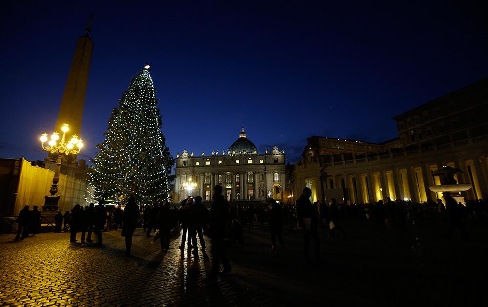वेटिकन में सेंट पीटर स्क्वायर पर बनाया गया क्रिसमस ट्री।
