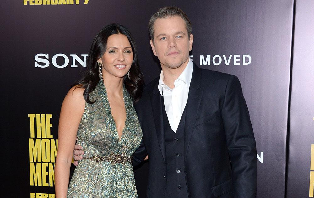 न्यूयॉर्क में एक फिल्म की रिलीज के दौरान अदाकार मैट डेमन और उनकी पत्नी लूसियाना बारोसो।