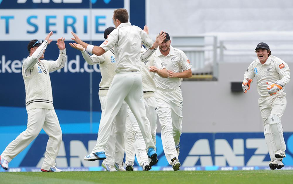 न्यूजीलैंड के गेंदबाज टिम सूदी विराट कोहली का विकेट लेने के बाद खुशी जाहिर करते हुए।