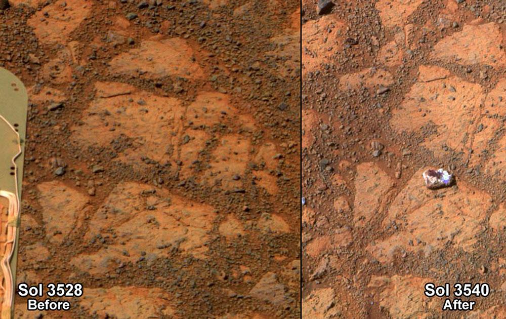 नासा द्वारा उपलब्ध कराया गया मंगल ग्रह की दो  तस्वीर।