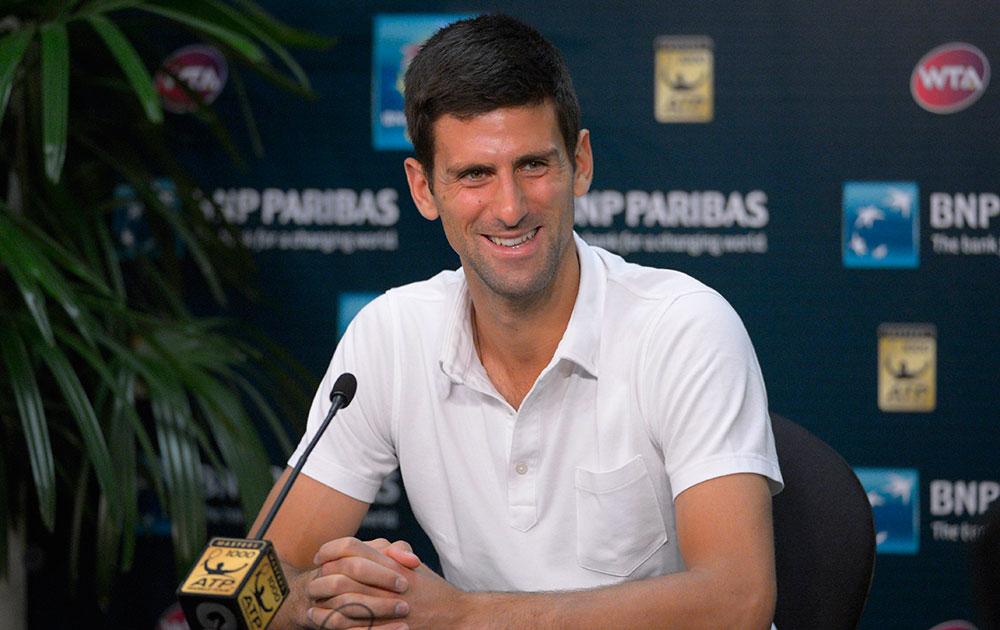 बीएनपी परिबास ओपन टेनिस टूर्नामेंट के दौरान मीडिया से बातचीत करते सर्बिया के नोवाक जोकोविक।