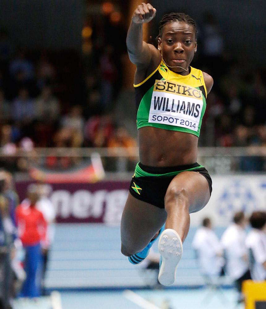 पोलैंड में एथलेटिक्स इंडोर वर्ल्ड चैंपियनशिप में हिस्सा लेती जमैका की खिलाड़ी किम्बर्ले विलियम्स।