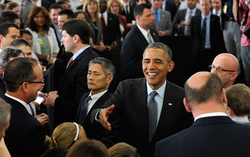 कैलिफ में एक कार्यक्रम के दौरान अमेरिकी राष्ट्रपति बराक ओबामा।