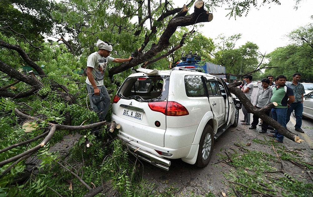 नई दिल्ली में शुक्रवार शाम आए अंधड़ में एक कार पर गिरे पेड़ को हटाते लोग।