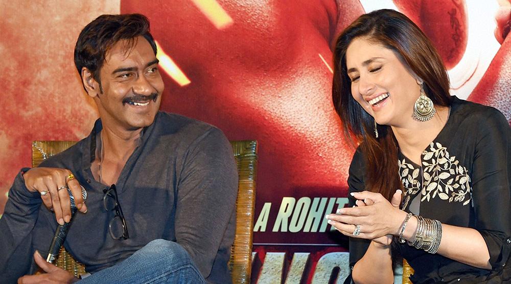 'सिंघम रिटर्न्स' के प्रोमोशनल कार्यक्रम के दौरान बॉलीवुड अभिनेता अजय देवगन और करीना कपूर।
