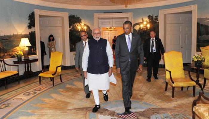 व्हाइट हाउस में हुई मोदी-ओबामा की पहली मुलाकात, भारत-अमेरिका का नया नारा- 'चलें साथ-साथ`