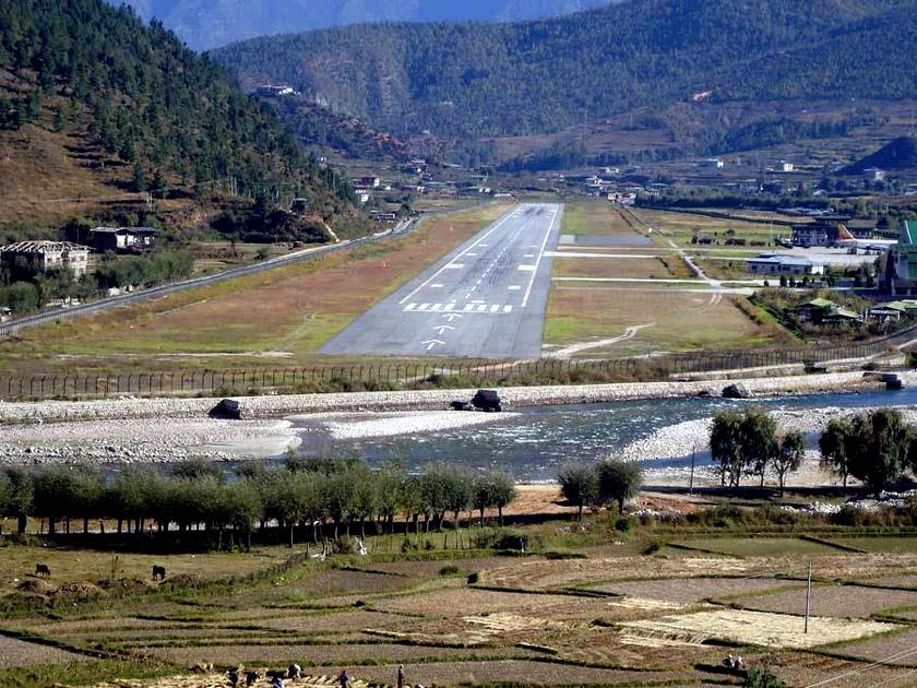 Paro Airport in Bhutan, Himalayan Mountains.