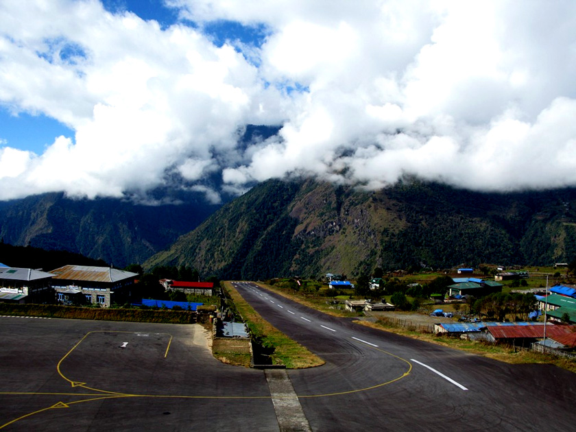 Landing at Lukla Airport in Nepal