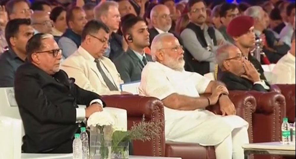 Subhash chandra, PM Narendra Modi and President Pranab Mukherjee