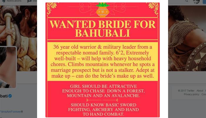 'भल्लालदेव' ने 'बाहुबली' की शादी के लिए दिया विज्ञापन, सोशल मीडिया पर हो गया वायरल