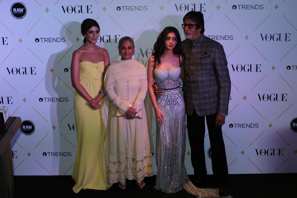 Amitabh Bachchan and Jaya Bachchan with their daughter Shweta Bachchan-Nanda and granddaughter Navya Naveli Nanda
