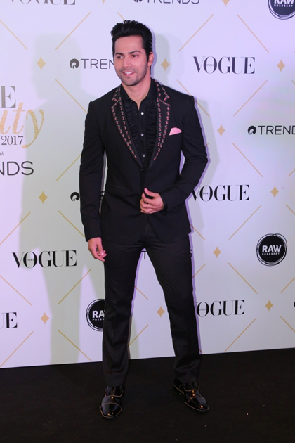 Varun Dhawan during the red carpet Of Vogue Beauty Awards 2017
