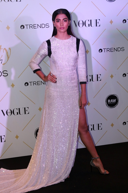 Pooja Hegde during the red carpet of Vogue Beauty Awards 2017