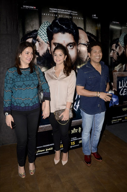 Cricket legend Sachin Tendulkar and his wife Anjali Tendulkar and daughter Sara Tendulkar during the special screening of film Lucknow Central