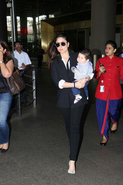 Actress Kareena Kapoor Khan along with her son Taimur Ali Khan spotted at Chhatrapati Shivaji Maharaj International airport