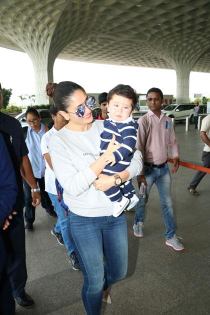 Actress Kareena Kapoor Khan along with her son Taimur spotted at Chhatrapati Shivaji Maharaj