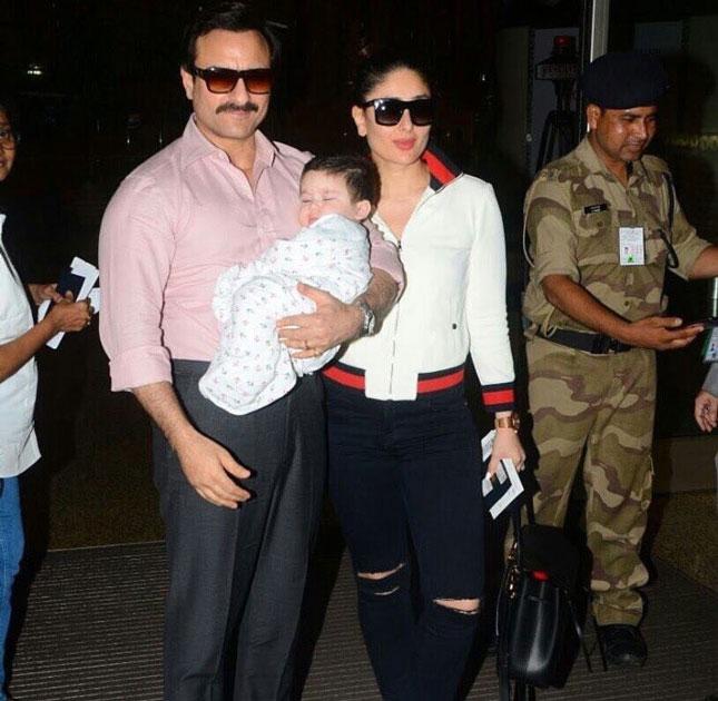 Actors Saif Ali Khan and Kareena Kapoor khan along with their son Taimur spotted at the Chhatrapati Shivaji International