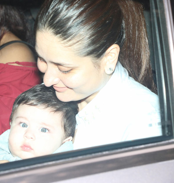 Actress Kareena Kapoor with her son Taimur Ali Khan during Tussar Kapoor son Laksshay`s first birthday party