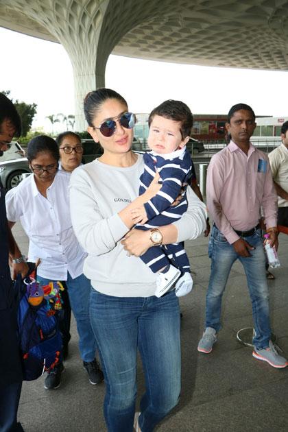 Actress Kareena Kapoor Khan along with her son Taimur spotted at Chhatrapati Shivaji Maharaj International