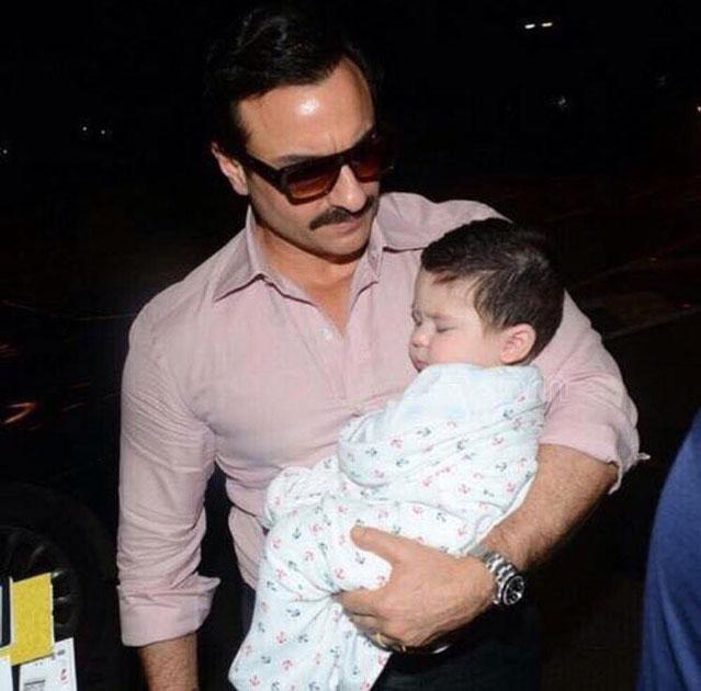 Actor Saif Ali Khan along with his son Taimur spotted at the Chhatrapati Shivaji International Airport