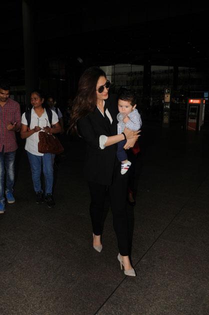 Actress Kareena Kapoor Khan along with her son Taimur Ali Khan spotted at Chhatrapati Shivaji Maharaj International