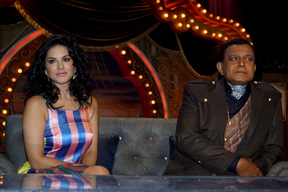 Actress Sunny leone with Actor Mithun Chakraborty