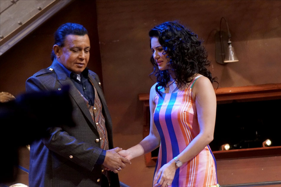 Sunny leone with Actor Mithun Chakraborty