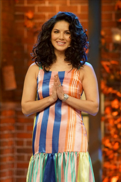 Actress Sunny leone visits at television show