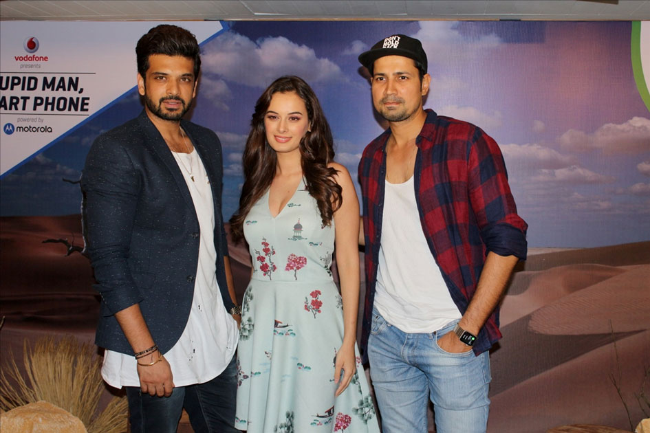 Actors Karan Kundra, Evelyn Sharma and Sumeet Vyas during the interview of Web-series