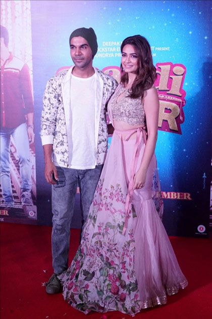 Actors Kriti Kharbanda and Rajkummar Rao during the trailer launch of their upcoming film