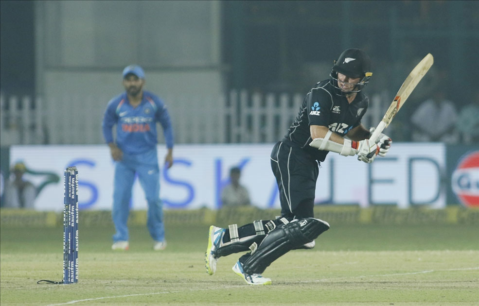 Tom Latham of New Zealand in action during the third ODI match between India and New Zealand at Green Park Stadium in Kanpur.