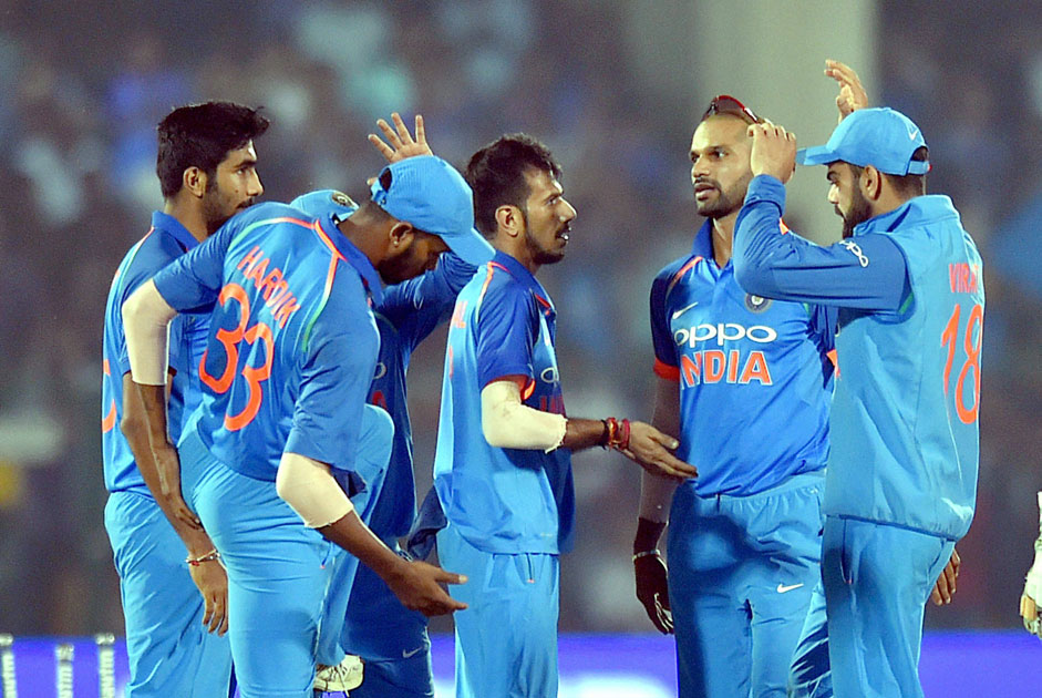 India`s Yuzvendra Chahal celebrates the wicket of New Zealand batsman Colin Munro during 3rd ODI cricket match against India at Green Park Stadium in Kanpur.