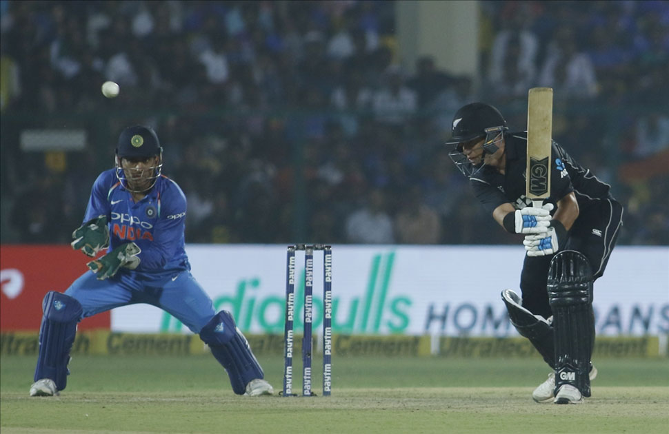 Ross Taylor of New Zealand in action during the third ODI match between India and New Zealand at Green Park Stadium in Kanpur.