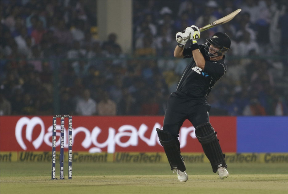 New Zealand`s Colin Munro in action during the third ODI match between India and New Zealand at Green Park Stadium in Kanpur.