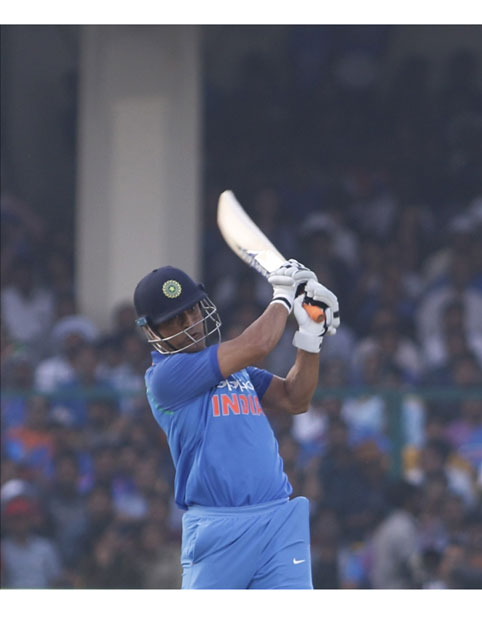 MS Dhoni of India in action during the third ODI match between India and New Zealand at Green Park Stadium in Kanpur.