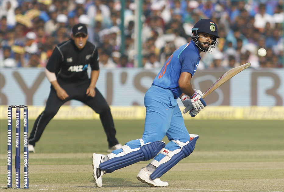 Indian captain Virat Kohli in action during the third ODI match between India and New Zealand at Green Park Stadium in Kanpur.