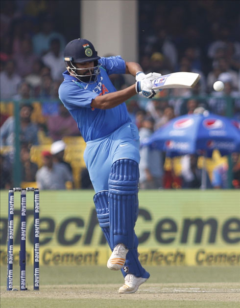Rohit Sharma of India in action during the third ODI match between India and New Zealand at Green Park Stadium in Kanpur.