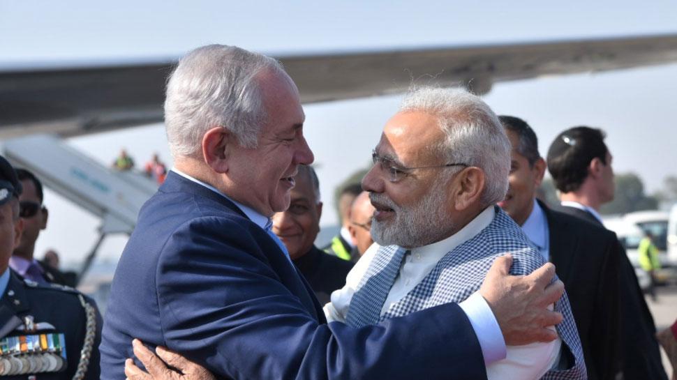 Image result for भारत पहुंचे इजरायली पीएम नेतन्याहू