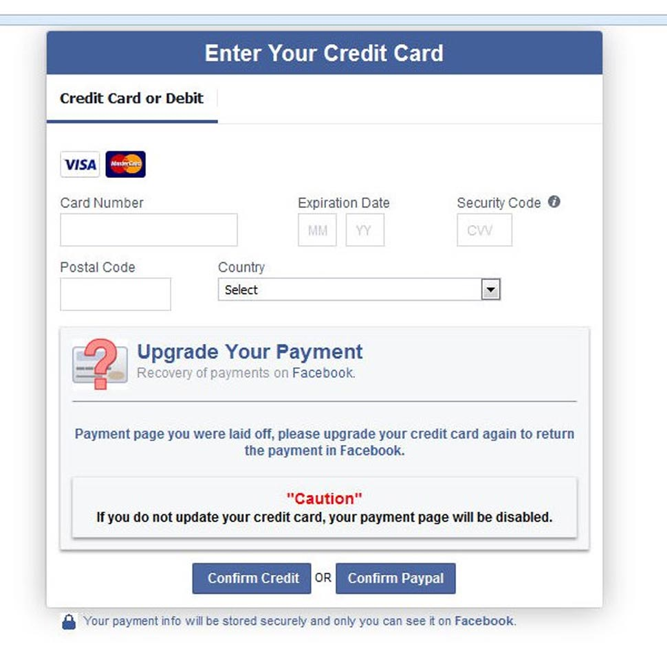 Never share your credit card details on Facebook