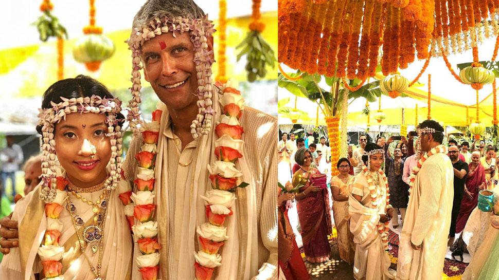 मिलिंद सोमन ने 25 साल छोटी अंकिता कंवर से की शादी, देखें Video