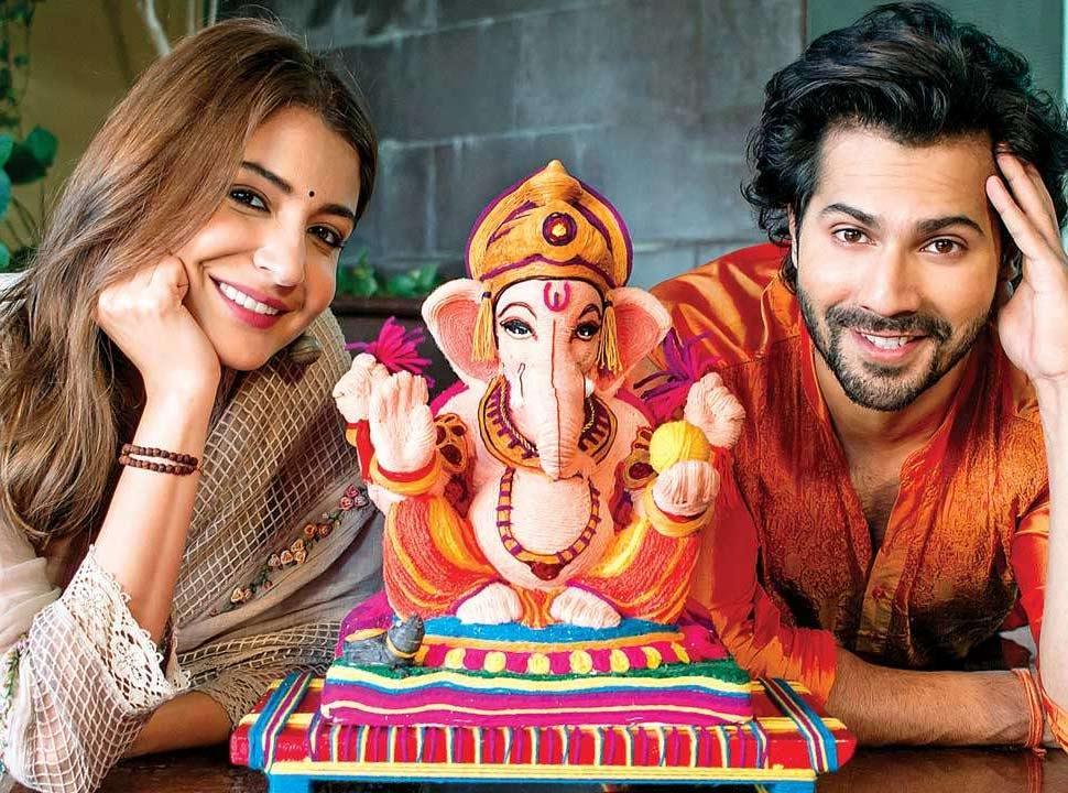 Anushka Sharma and Varun dhawan with Bappa