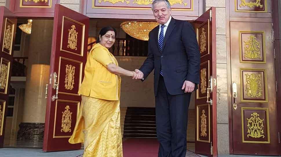 विदेश मंत्री सुषमा स्वराज ने तजाकिस्तान के अपने समकक्ष से मुलाकात की