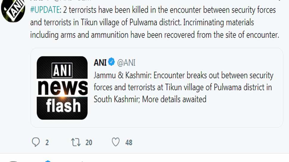 2 terrorists killed in encounter in Tikun village of Pulwama Jammu & Kashmir