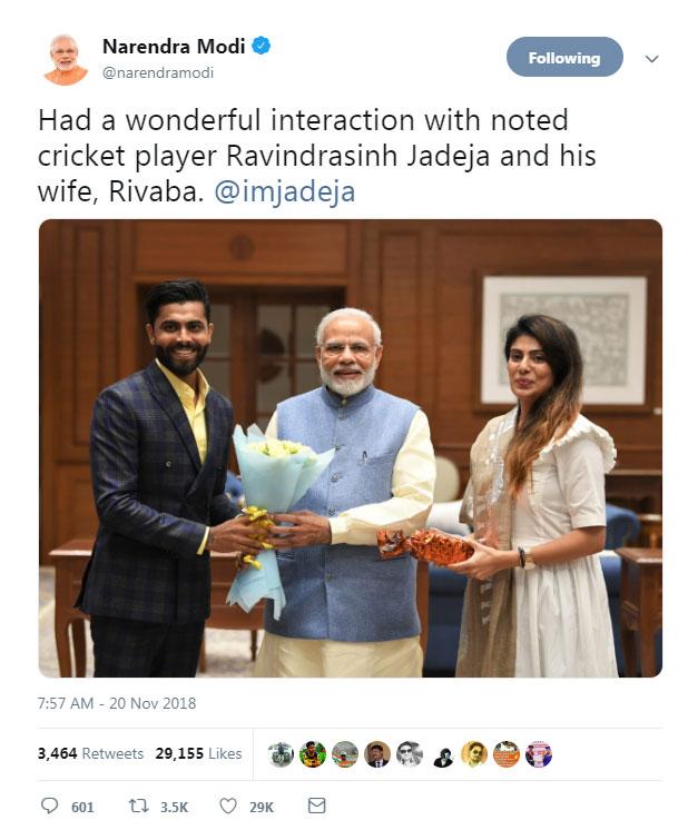 PM Narendra Modi, Ravindra Jadeja